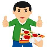 Homme avec des pouces prenant une tranche de pizza Photo libre de droits
