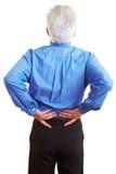 Homme avec des problèmes dorsaux Photo stock