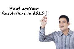Homme avec des résolutions en 2015 Images stock
