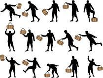 Homme avec des silhouettes d'un sac illustration libre de droits