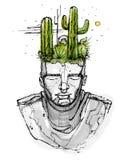 Homme avec des usines de cactus sur sa tête Image libre de droits