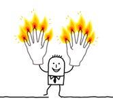 Homme avec dix doigts brûlants Images stock