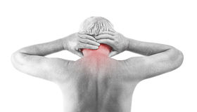 Homme avec douleur cervicale Image libre de droits