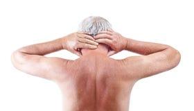 Homme avec douleur cervicale Images stock