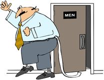 Homme avec du papier hygiénique hors de son pantalon Images libres de droits