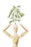 Homme avec l'élevage de son arbre principal d'argent Image libre de droits