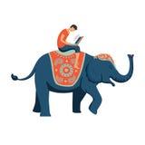 Homme avec l'équitation d'ordinateur portable sur l'éléphant Image stock