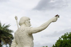 Homme avec l'île d'oiseau Images stock