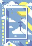 Homme avec l'affiche de parapluie Images libres de droits