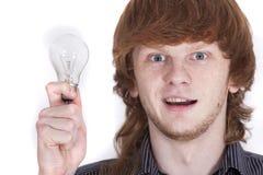 Homme avec l'ampoule image libre de droits