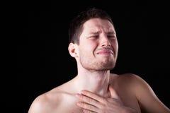 Homme avec l'angine Photos libres de droits