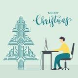 Homme avec l'arbre d'ordinateur et de Noël de Digital illustration de vecteur