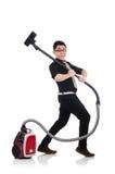 Homme avec l'aspirateur Image libre de droits