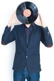 Homme avec l'enregistrement au-dessus du visage Photos libres de droits