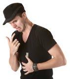 Homme avec l'estomac bouleversé Photographie stock