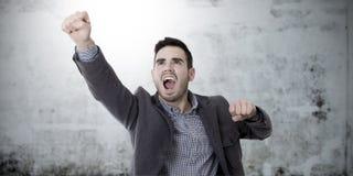 Homme avec l'expression du succès photos stock