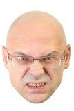 Homme avec l'expression faciale fâchée en verre Image stock