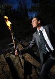 Homme avec l'incendie Photos libres de droits