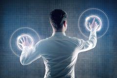 Homme avec l'interface numérique Photo libre de droits