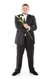 Homme avec l'orchidée de fleur Images stock
