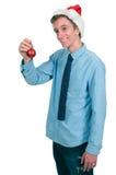 Homme avec l'ornement d'arbre de Noël Images stock