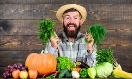 Homme avec la barbe fière de son fond en bois de récolte Les engrais organiques d'excellente récolte de qualité font la récolte photo libre de droits