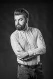 Homme avec la barbe, noire et blanche photos libres de droits