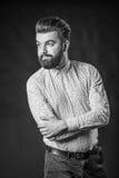 Homme avec la barbe, noire et blanche photo libre de droits
