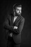 Homme avec la barbe, noire et blanche photo stock