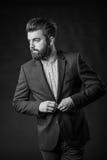 Homme avec la barbe, noire et blanche image libre de droits