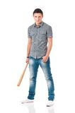 Homme avec la batte de baseball Image libre de droits