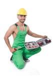 Homme avec la boîte à outils Photo stock
