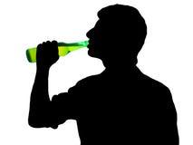 Homme avec la bouteille Image stock