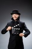 Homme avec la claquette de film Photo libre de droits