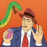Homme avec la glace de vin Cessez le boire Serpent d'alcool Photographie stock libre de droits