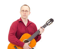 Homme jouant la guitare Photos stock