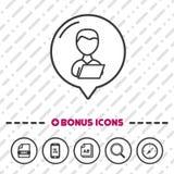 Homme avec la ligne mince icônes d'icône d'ordinateur portable de bonification Vecteur Eps10 illustration libre de droits