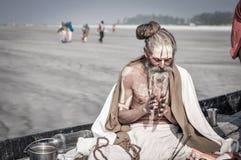Homme avec la longue barbe dans le Bengale-Occidental Photos libres de droits