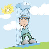Homme avec la mauvaise chance, sous un nuage pluvieux Photo libre de droits