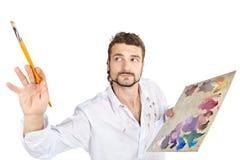 Homme avec la palette Photos stock