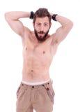 Homme avec la pose de barbe Photographie stock libre de droits
