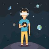 Homme avec la réalité virtuelle Image stock