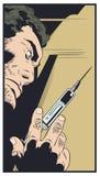Homme avec la seringue Illustration courante image libre de droits
