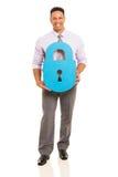 Homme avec la serrure de papier Photo libre de droits