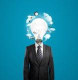 Homme avec la tête de lampe photos libres de droits