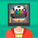 Homme avec la tête de TV Photos stock