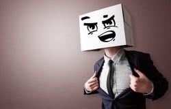 Homme avec la t?te de carton images libres de droits