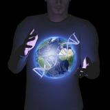 Homme avec la terre et l'ADN Photo stock