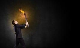 Homme avec la torche Images libres de droits