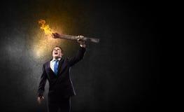 Homme avec la torche Photo stock